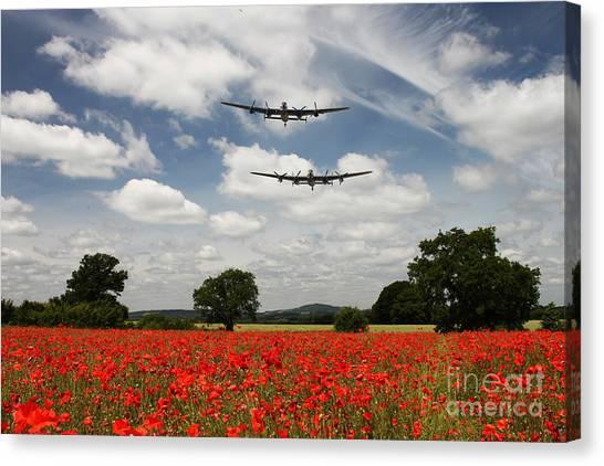 Poppys Canvas Print - Two Lancasters Poppy Pass  by J Biggadike