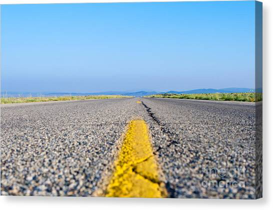 United Way Canvas Print - Two Lane Highway  by Jim Pruitt