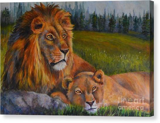 Two Lions Canvas Print by Jana Baker