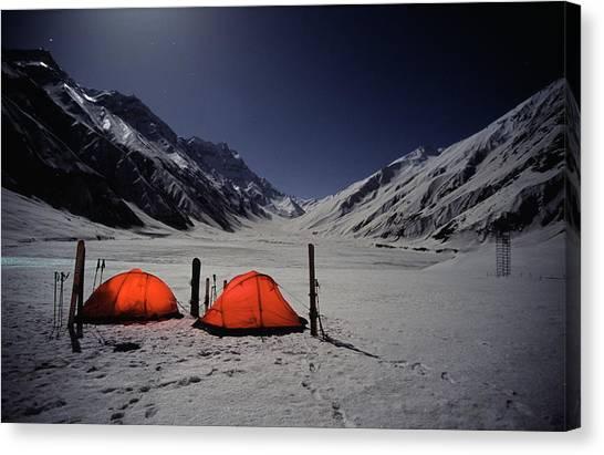Karakoram Canvas Print - Two Lit Tents In Winter Valley by Patrik Lindqvist
