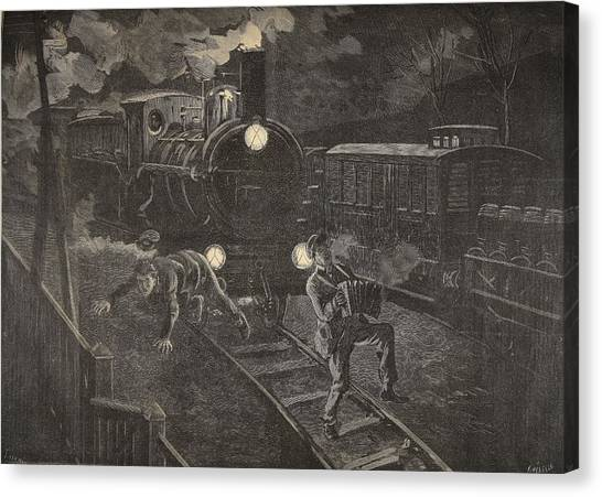 Drunk Canvas Print - Two Men Hit By A Train Illustration by French School