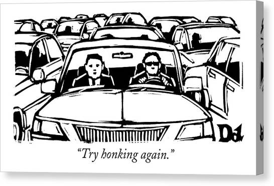 Two Men In A Car Are Stuck In Traffic Canvas Print