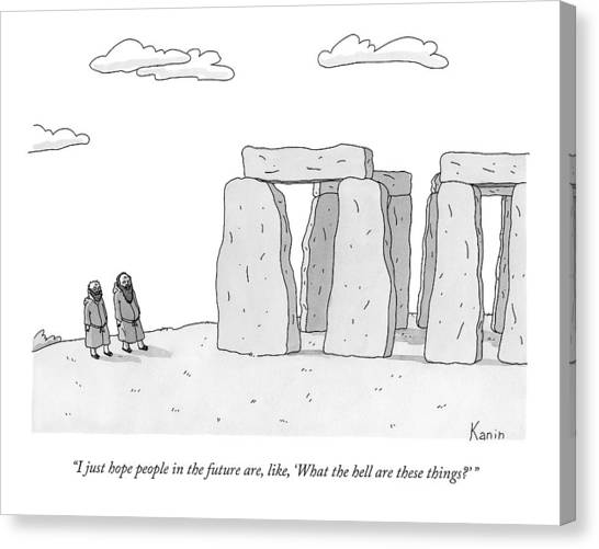 Stonehenge Canvas Print - Two Men In Robes Chat Beside Stonehenge by Zachary Kanin