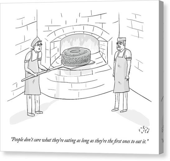Oven Canvas Print - Two Men Place A Car Tire Into A Brick Oven by Farley Katz