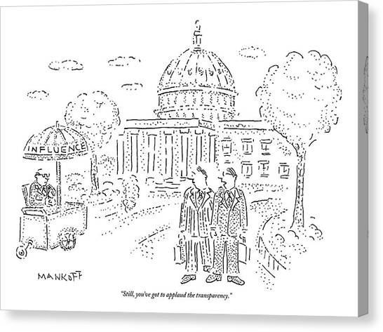 Influence Canvas Print - Two Men Speak In Front Of The Capitol And Look by Robert Mankoff