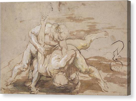 Baroque Canvas Print - Two Men Wrestling by Peter Paul Rubens