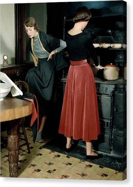 Flannel Canvas Print - Two Models In A Ski Lodge Kitchen by Frances McLaughlin-Gill