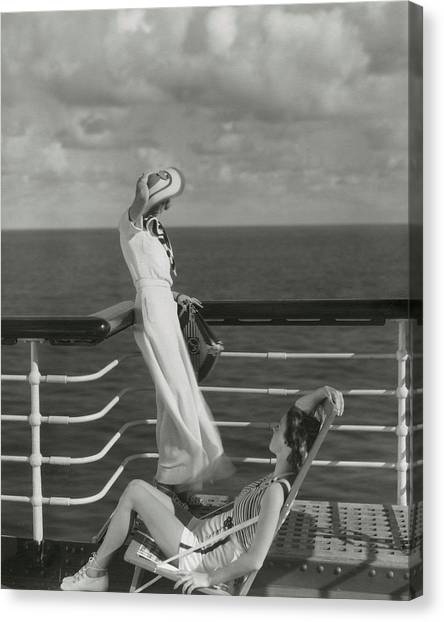 Two Models On The Deck Of A Cruise Ship Canvas Print