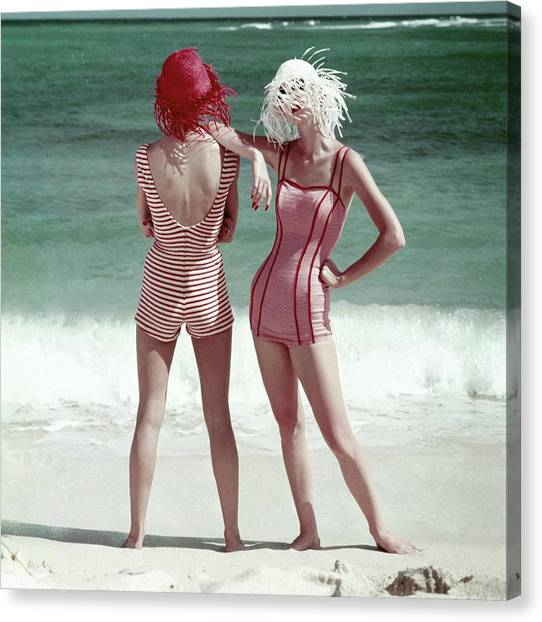 Two Models Standing On A Beach Canvas Print by Frances McLaughlin-Gill