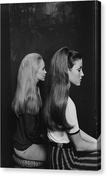 Two Models Wearing Hairpieces Canvas Print