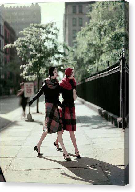 Plaid Canvas Print - Two Models Wearing Plaid Mohair Skirts And Stoles by Sante Forlano