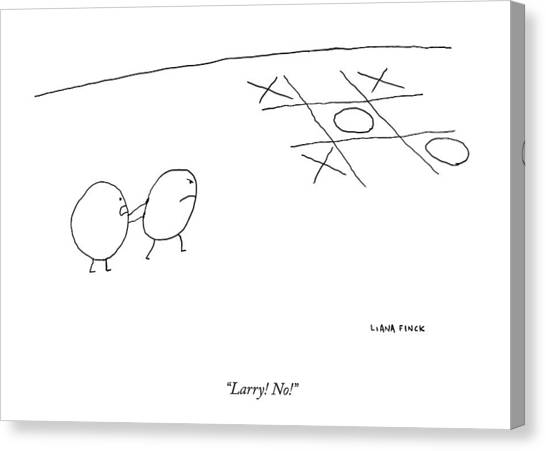 Toes Canvas Print - Two O-characters Stand By A Game Of Tic-tac-toe by Liana Finck
