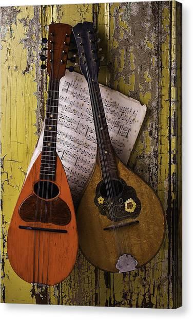 Mandolins Canvas Print - Two Old Mandolins by Garry Gay