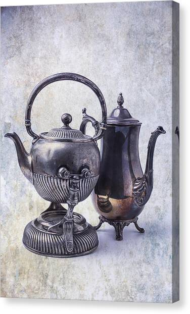 Tea Time Canvas Print - Two Old Teapots by Garry Gay