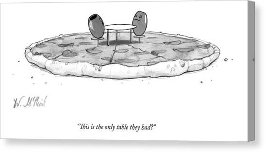 Pizza Canvas Print - Two Olives Sit At A Small Table On A Pizza by Will McPhail