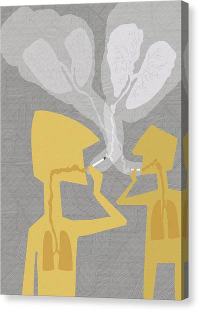 Two People Smoking Cigarettes Canvas Print by Fanatic Studio / Science Photo Library