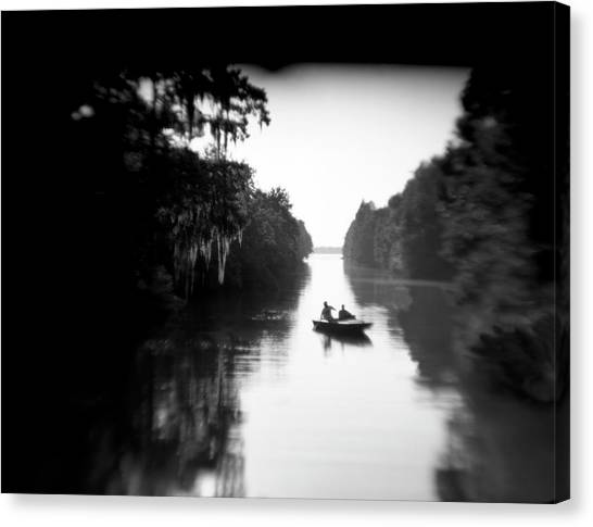 Atchafalaya Basin Canvas Print - Two People Take A Canoe Trip by Robb Kendrick