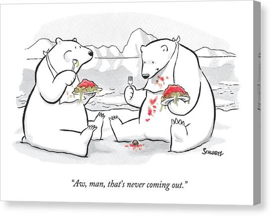 Spaghetti Canvas Print - Two Polar Bears Eat Spaghetti And Meatballs.  One by Benjamin Schwartz