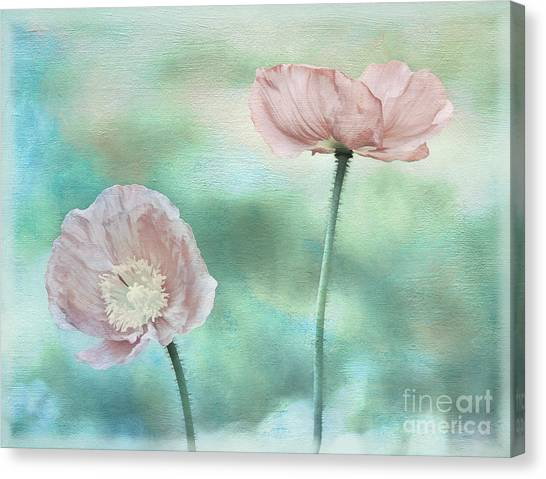 Two Poppies Textured Photograph Canvas Print by Clare VanderVeen