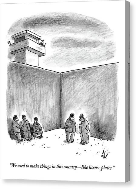 Two Prisoners Talk In The A Prison Yard Canvas Print