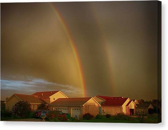 Two Rainbows Plus Two Pots Of Gold Canvas Print