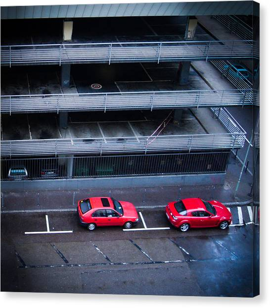 Street Scenes Canvas Print - Two Red Cars In The City by Matthias Hauser