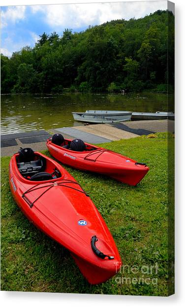 Rowboat Canvas Print - Two Red Kayaks by Amy Cicconi