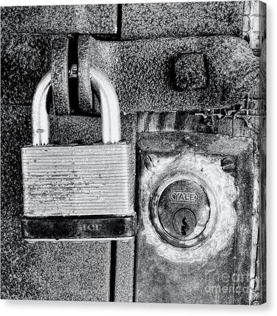 Two Rusty Old Locks - Bw Canvas Print