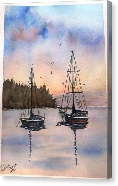 Two Sail Boats At Anchor Sold Canvas Print