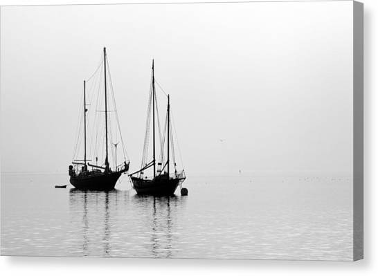 Two Ships In The Fog Canvas Print