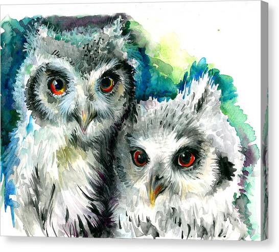 Big Sister Canvas Print - Two Sisters - Polar Owl Offsprings by Tiberiu Soos