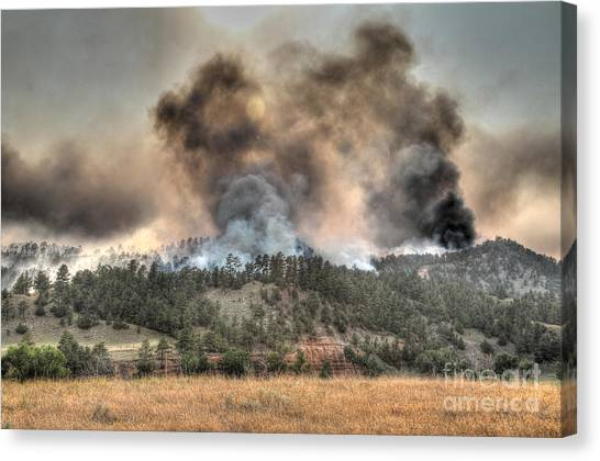 Two Smoke Columns White Draw Fire Canvas Print
