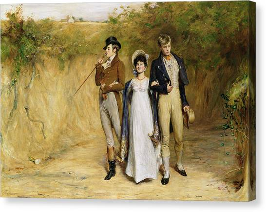 Gent Canvas Print - Two Strings To Her Bow by John Pettie