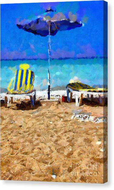Two Sun-chairs And Umbrella Painting Canvas Print by Magomed Magomedagaev