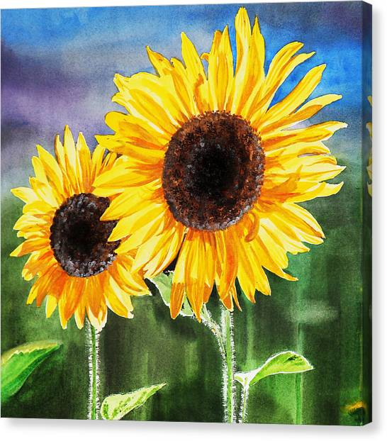Irina Canvas Print - Two Sunflowers by Irina Sztukowski