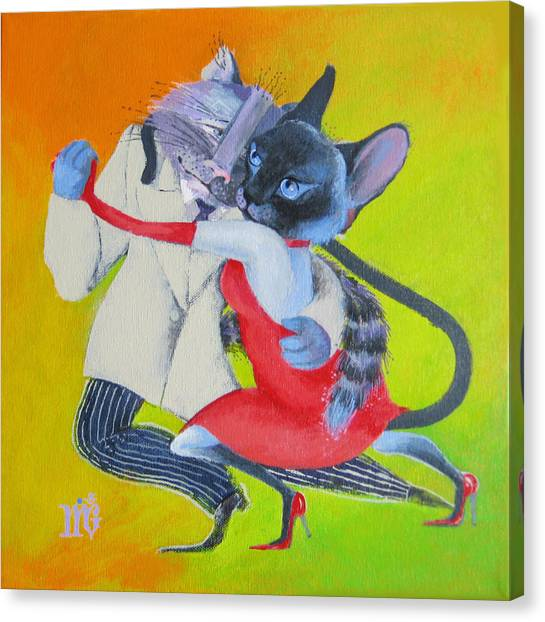 Two To Cats' Tango Canvas Print