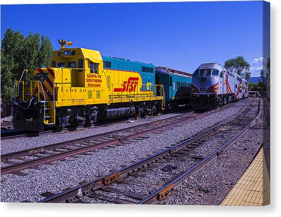Roadrunner Canvas Print - Two Trains by Garry Gay