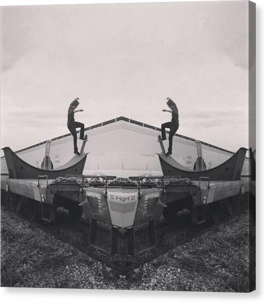Symmetrical Canvas Print - Two Trains #skateboarding #trainyard by Derek Andrews