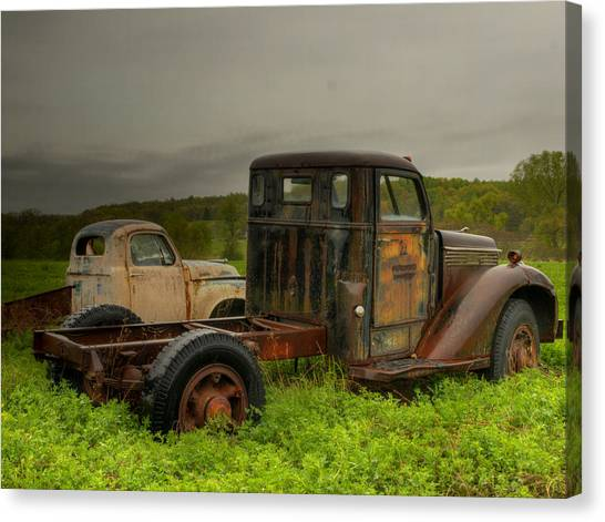 Two Trucks Canvas Print