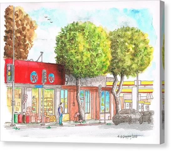 Two Tween Trees In Santa Monica Blvd - Santa Monica - Ca Canvas Print