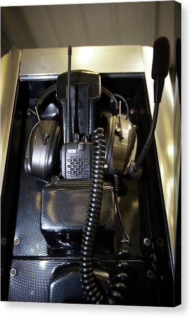 Headphones Canvas Print - Two-way Radio Kit by Gustoimages/science Photo Library
