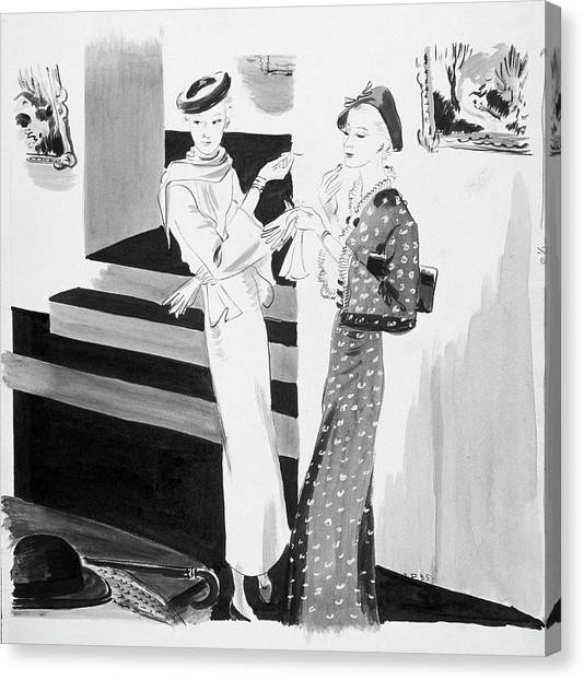 Two Women Applying Their Makeup Canvas Print by Jean Pages