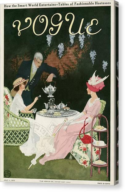 Two Women Drinking Tea Canvas Print