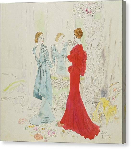 Two Women Getting Ready In Schiaparelli And Worth Canvas Print by Cecil Beaton