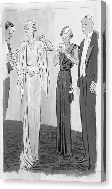 Two Women In Evening Gowns With Older Men Canvas Print by Eduardo Garcia Benito