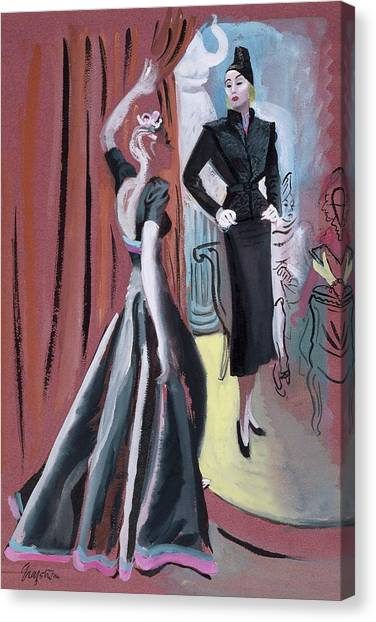 Two Women Wearing Designer Dresses Canvas Print by R.S. Grafstrom