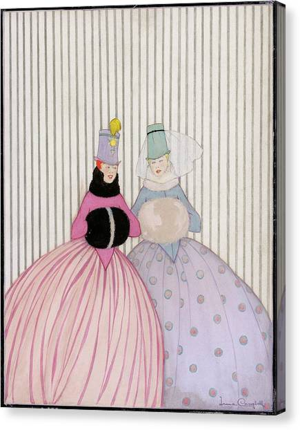 Two Women Wearing Hand Warmers Canvas Print