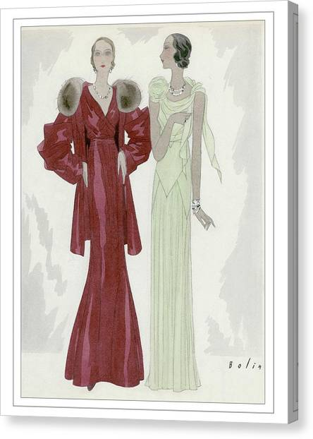 Two Women Wearing Jay-thorpe And Bendel Dresses Canvas Print by William Bolin