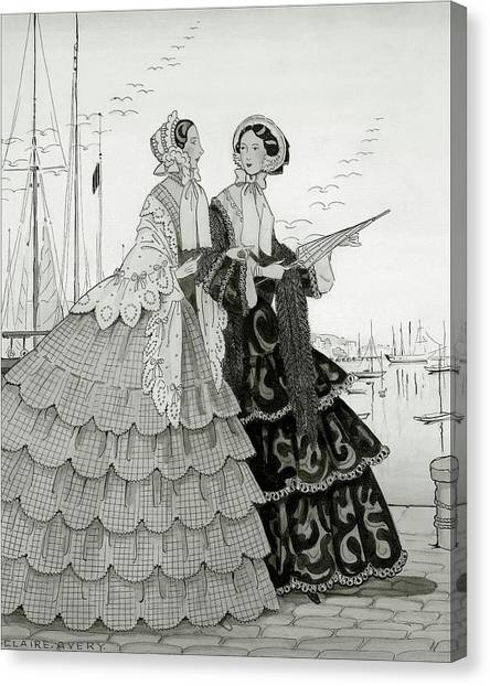 Two Women Wearing Large Dresses With Hoop Skirts Canvas Print by Claire Avery