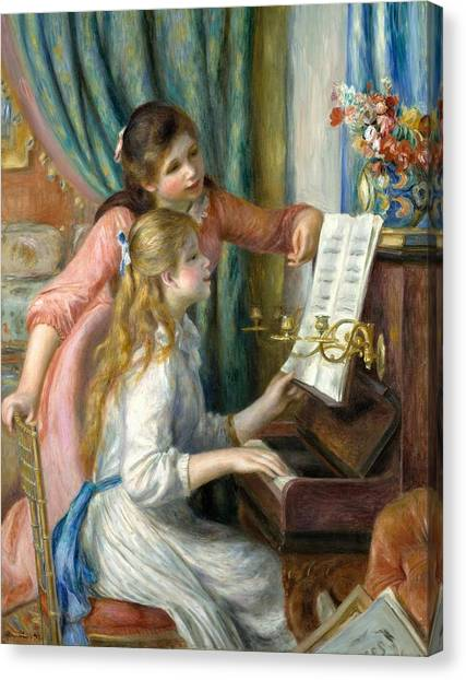 The Metropolitan Museum Of Art Canvas Print - Two Young Girls At The Piano by Pierre-Auguste Renoir